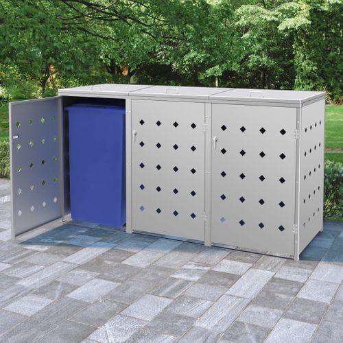 VidaXL containerberging voor 3 vuilcontainers 240L zilver