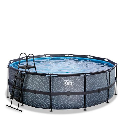 EXIT Stone opzetzwembad met zandfilterpomp grijs Ø427x122cm