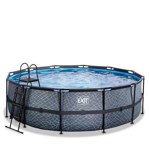 EXIT Stone opzetzwembad met zandfilterpomp grijs Ø450x122cm