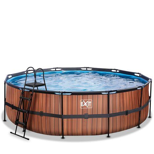 EXIT Wood opzetzwembad met filterpomp bruin Ø488x122cm