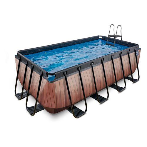 EXIT Wood opzetzwembad met filterpomp bruin 400x200x122cm