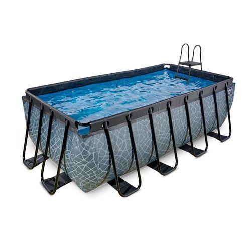 EXIT Stone opzetzwembad met zandfilterpomp grijs 400x200x122cm
