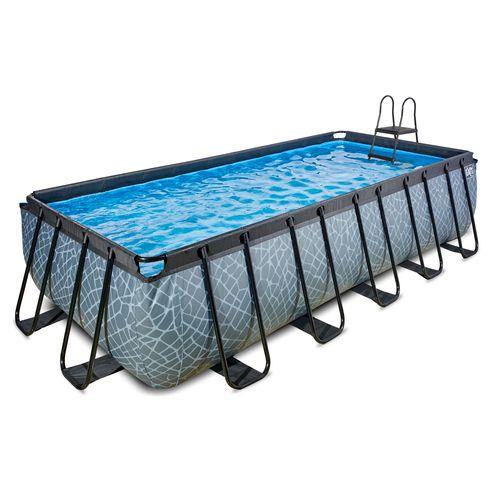 EXIT Stone opzetzwembad met zandfilterpomp grijs 540x250x122cm