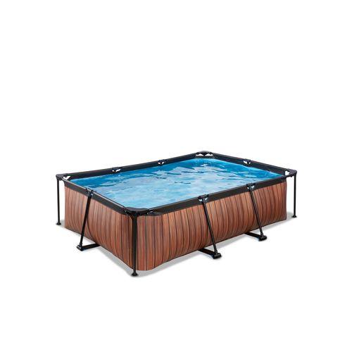 EXIT Wood opzetzwembad met filterpomp bruin 220x150x65cm