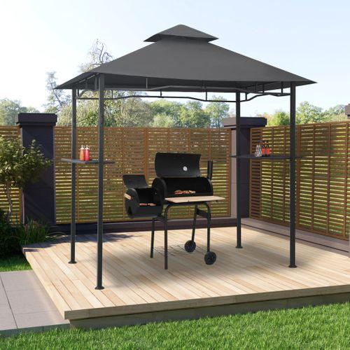 VidaXL Barbecue paviljoen 240x150x255 cm staal antraciet