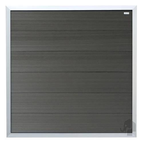 Elephant tuinscherm WPC Forte zilver recht 180x180cm