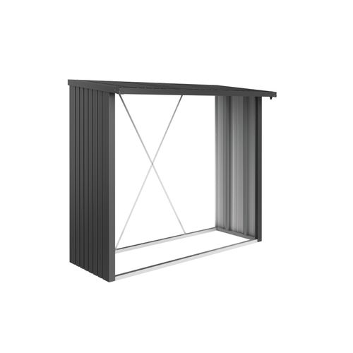 Biohort haardhoutopslag WoodStock 230 donkergrijs metallic 102x229cm