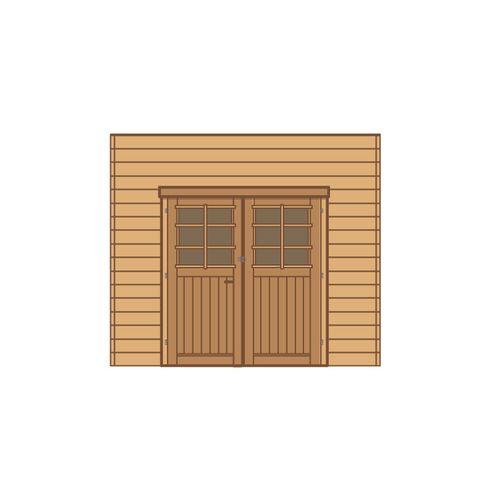 Solid carport voorwand dubbele deur 270x255cm voor carport basis 4x5m