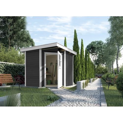 Blokhut Quinta Gr. 2 270 x 270cm antraciet wit