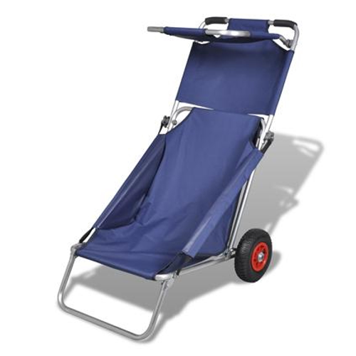 VidaXL strandstoel beach trolley blauw