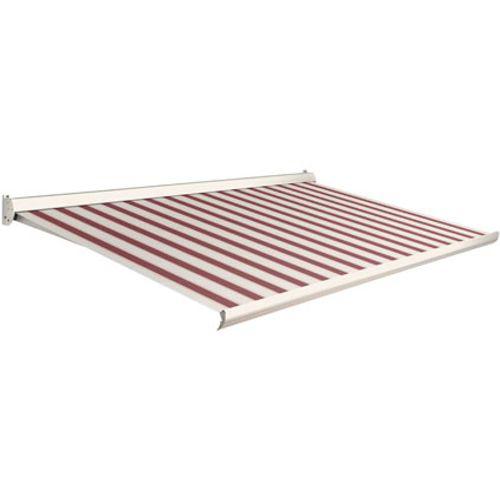 Domasol zonnescherm elektrisch Factor 10 C rood witte smalle strepen400x250cm