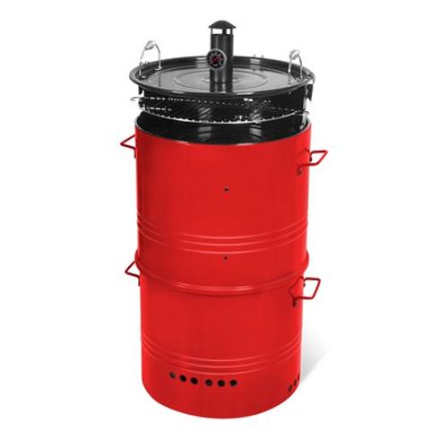 Central Park barrel houtskoolbarbecue 5 in 1 Ø48cm rood