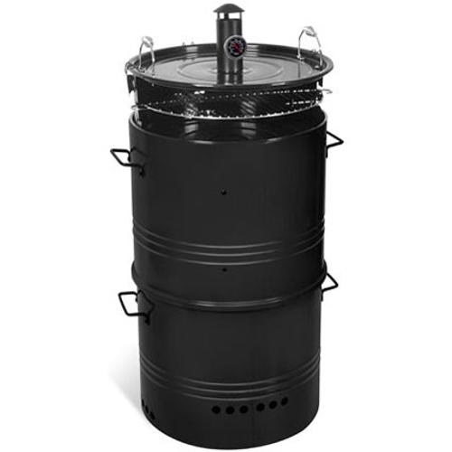 Central Park barrel houtskoolbarbecue 5 in 1 Ø48cm zwart